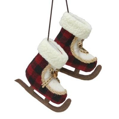 "Northlight 4"" Red and White Plush Plaid Ice Skates Christmas Ornament"