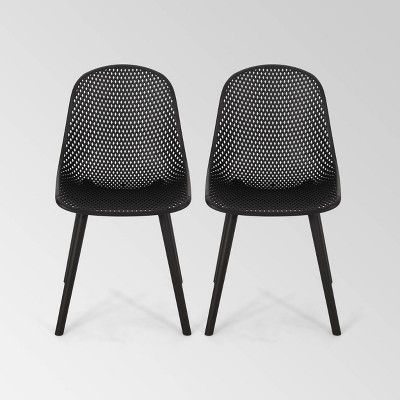 Posey 2pk Resin Modern Dining Chairs - Black - Christopher Knight Home
