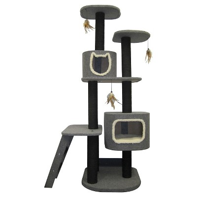 Cat Life Two Post Vertical Tower and 7 Scratching Posts Pet Activity Hideaway Ladder