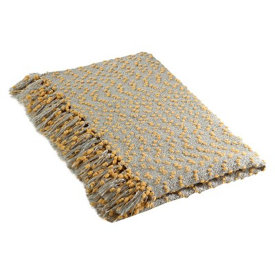 """50""""x60"""" Petite Pom-Pom Design Throw Blanket Saffron - Saro Lifestyle"""