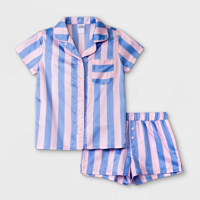 Girls' Striped Pajama Set - art class™ Blue