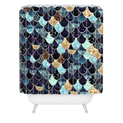 Monika Strigel Really Mystic Mermaid Shower Curtain Blue
