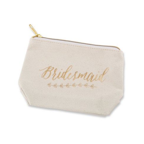 "6ct Foil ""Bridesmaid"" Canvas Makeup Bag Gold - image 1 of 3"