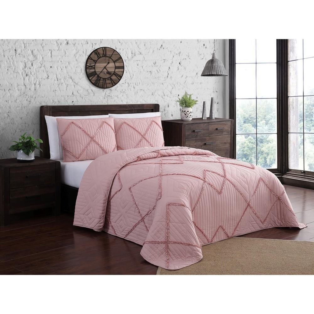 Image of 3pc King Asbury Quilt Set Blush - Geneva Home Fashion