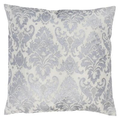 """Silver/White Medallion Throw Pillow 18""""x18"""" - Rizzy Home"""