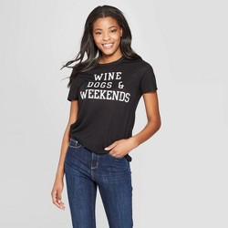 ffaf66f79 Women's Short Sleeve Wine Dogs and Weekends Graphic T-Shirt - Modern Lux -  Black