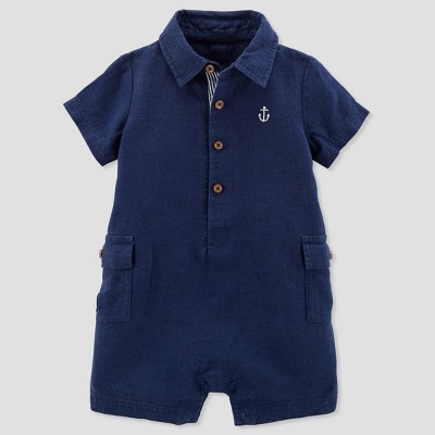 Baby Boys' Canvas Romper - Just One You® made by carter's Navy 6M