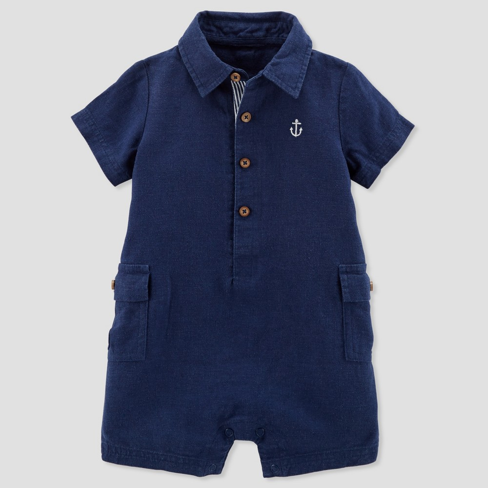 Baby Boys' Canvas Romper - Just One You made by carter's Navy 3M, Blue