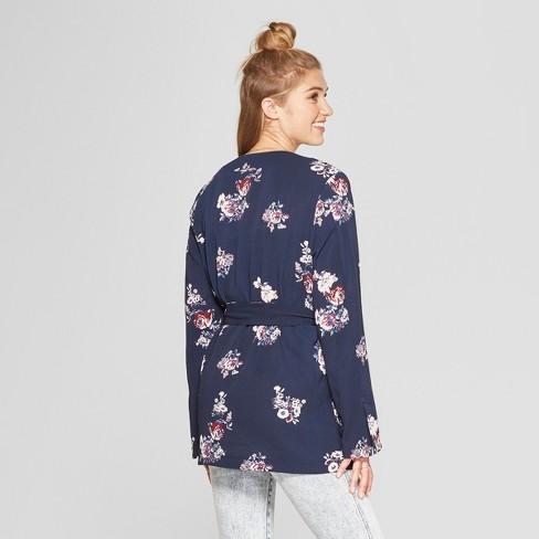 0ef1c20f899c Women s Long Sleeve Belted Floral Kimono Jacket - Xhilaration™ Navy XXL    Target