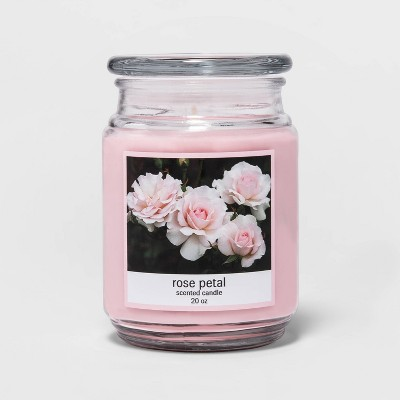 20oz Lidded Glass Jar Rose Petal Candle