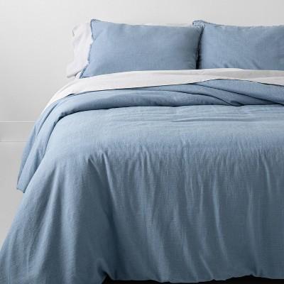 King Heavyweight Linen Blend Comforter & Sham Set Sky Blue - Casaluna™
