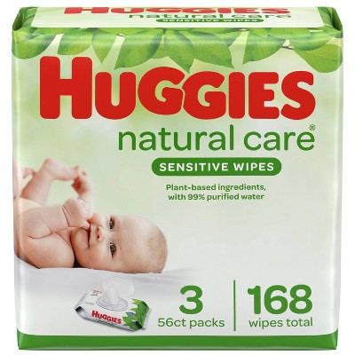 Huggies Natural Care Sensitive Baby Wipes, Unscented Flip-Top Packs - 3pk/168ct