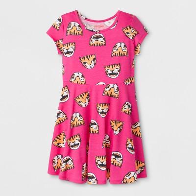 Girls' Short Sleeve Tiger Print Dress - Cat & Jack™ Pink XS
