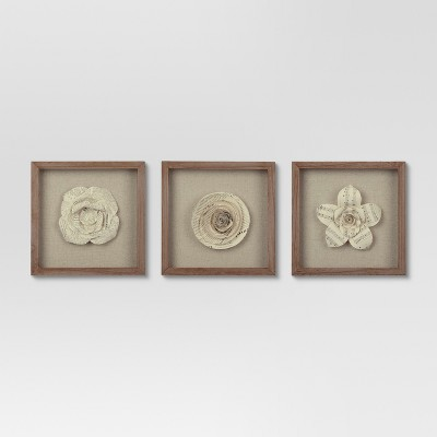 Framed Paper Flower 11x11 - Set of 3 - Threshold™