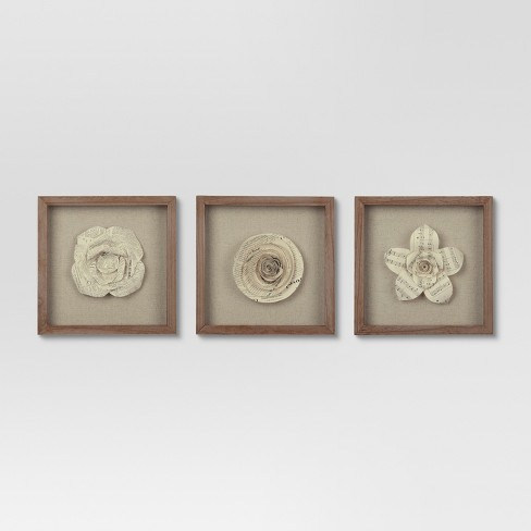 Framed Paper Flower 11x11 - Set of 3 - Threshold™ : Target
