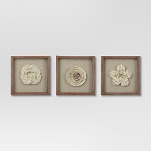 "(Set of 3) 11""x11"" Framed Paper Flower - Threshold™ - image 1 of 2"