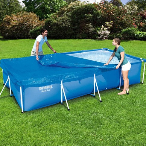 Bestway 58107 Flowclear Pro Rectangular Above Ground Swimming Pool Cover,  Blue