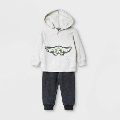 Baby Boys' 2pk Star Wars Baby Yoda Hooded Fleece Long Sleeve Top and Bottom Set - Beige 3-6M