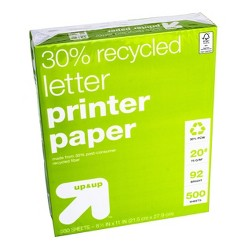 Recycled Printer Paper Letter Size 20lb 500ct White - Up&Up™