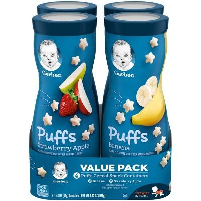 Gerber Puffs 4pk Variety Pack Strawberry-Apple & Banana - 5.92oz