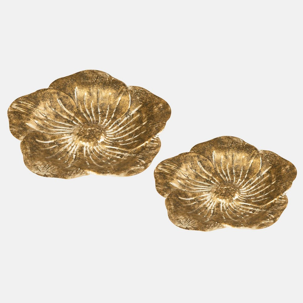 "Image of ""2pc 2"""" Metal Sculpted Flower Trays Gold - Foreside Home & Garden"""