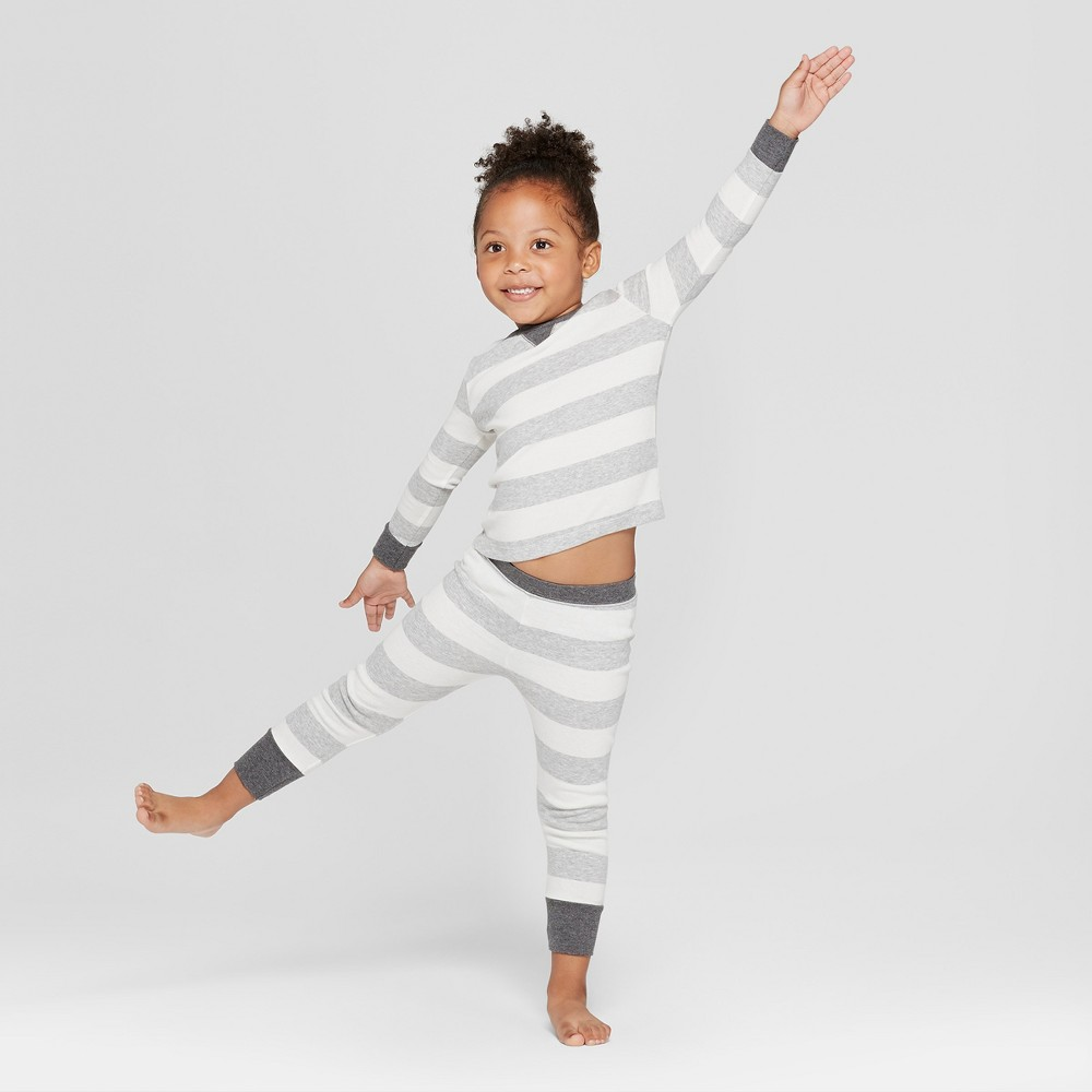Image of Toddler Striped Pajama Set - Gray 18M, Adult Unisex