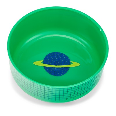 Cheeky Plastic Kids Bowl With Lid 8.5oz Planet - Green
