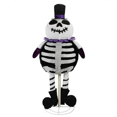 "Northlight 39"" Prelit LED Standing Skeleton Ghost Halloween Decoration - Black/White"