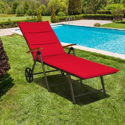 Costway 2PCS Folding Patio Rattan Lounge Chair Aluminum Adjustable Turquoise\Red