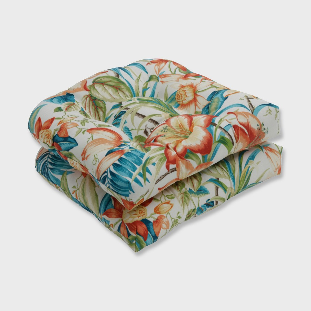 2pk Botanical Glow Tiger Lily Wicker Outdoor Seat Cushion Blue - Pillow Perfect
