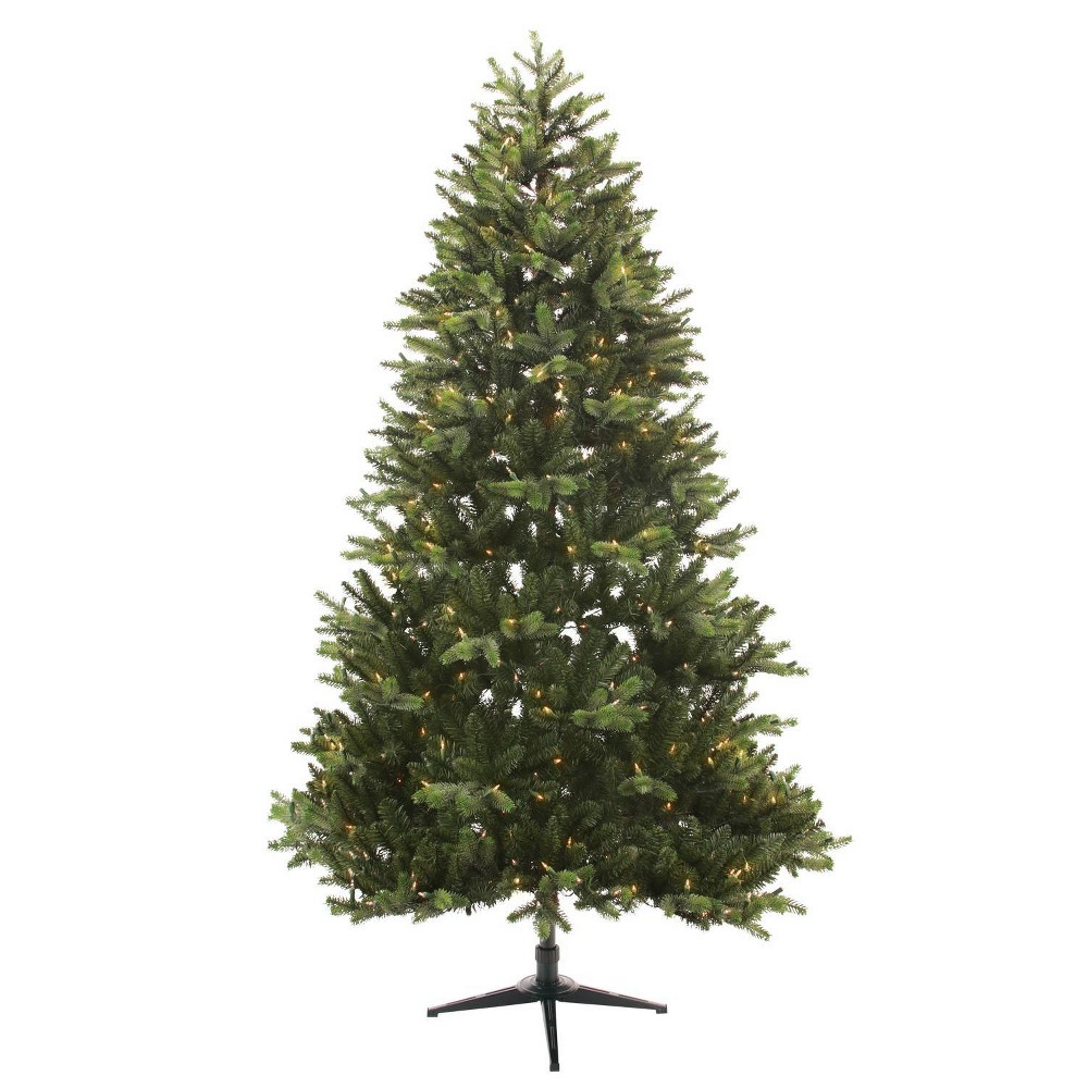 Image of Philips 7.5ft Full Pre-lit Artificial Christmas Tree Balsam Fir Auto Connect Clear Lights, Green