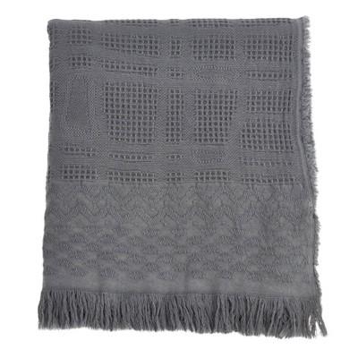 Cross Hatch Waffle Weave Throw Blanket Gray - Saro Lifestyle