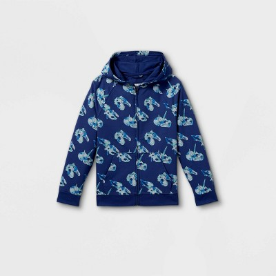 Boys' French Terry Dino Print Hooded Sweatshirt - Cat & Jack™ Navy