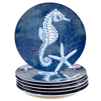 "11"" 6pk Melamine Oceanic Dinner Plates Blue - Certified International"
