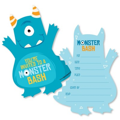 Big Dot of Happiness Monster Bash - Shaped Fill-in Invites - Little Monster Birthday Party or Baby Shower Invitation Cards with Envelopes - Set of 12