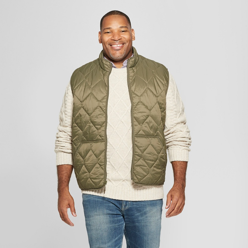 Men's Big & Tall Lightweight Quilted Vest - Goodfellow & Co Muddied Basil 3XB