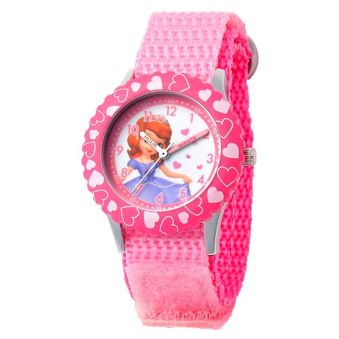 Disney® Girls' Sofia Stainless Steel with Printed Bezel Watch - Pink - image 1 of 2