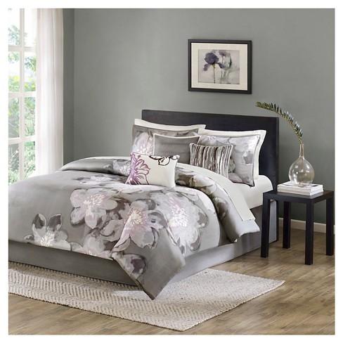 Jasmine 7 Piece Comforter Set Gray Cal King Target