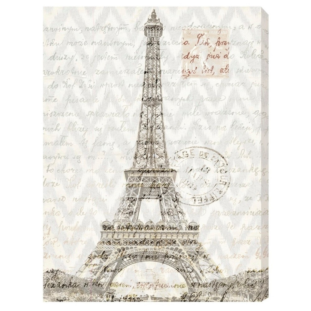 "Image of ""Oliver Gal Unframed Wall """"Eiffel Thoughts"""" Canvas Art (24x16), Multicolored"""