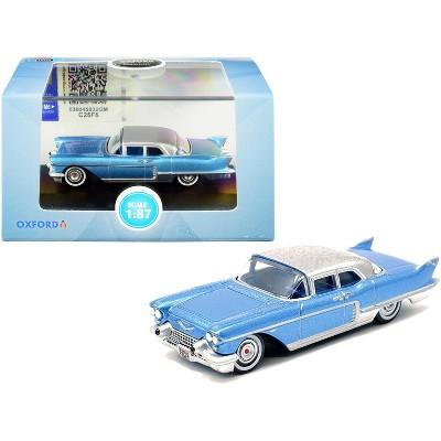 1957 Cadillac Eldorado Hardtop Copenhagen Blue Metallic with Silver Top 1/87 (HO) Scale Diecast Model Car by Oxford Diecast