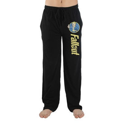 Mens Black Fallout Logo Video Game Lounge Wear Sleep Pants