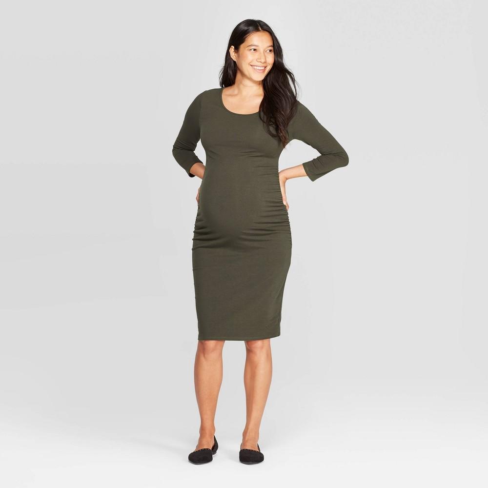 Image of Maternity 3/4 Sleeve Midi T-Shirt Dress - Isabel Maternity by Ingrid & Isabel Green L, Women's, Size: Large