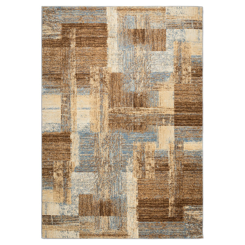 Rizzy Home Bennington Collection Area Rug - Blue/Ivory/Brown (5'3