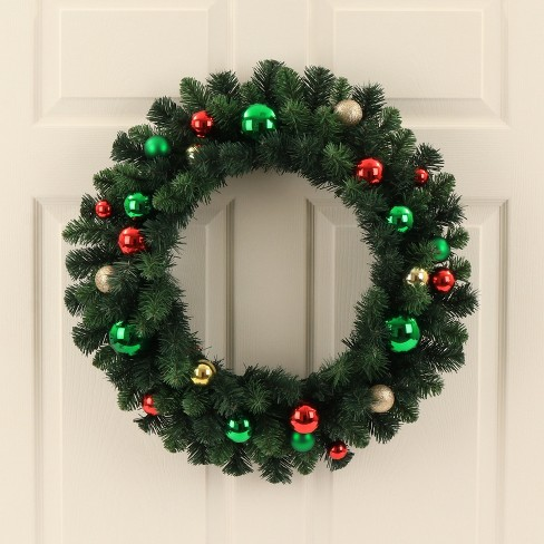 24 christmas unlit redgreen and champagnegold ornaments artificial pine wreath wondershop target