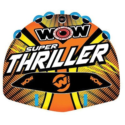 WOW Watersports Super Thriller Inflatable 3-Person Towable Boating Deck Tube with Nylon Cover and Speed Valve