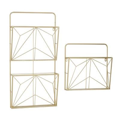 "(Set of 2) 15"" x 30"" Metal Geometric Wall Mail Organizer Gold - Olivia & May"