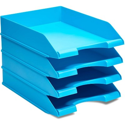 Stockroom Plus 4-Pack Blue Stackable Documents Paper Trays, Office Desk Organizers (10 x 13.5 x 2.5 in)