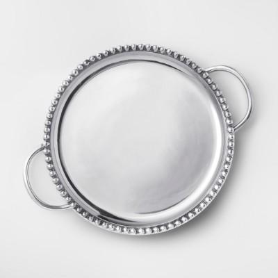 Round Aluminum Beaded Border Serving Tray 14.5''x18.2'' Silver - Threshold™