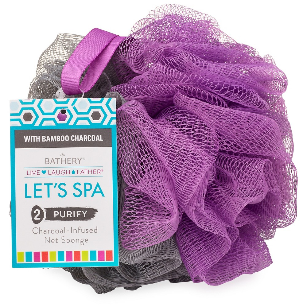 The Bathery Charcoal Infused Net Sponge, Purple