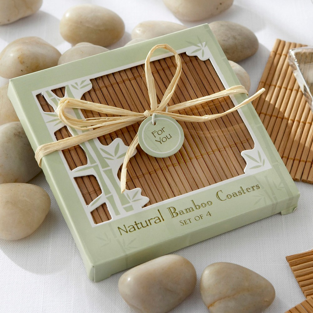 Image of 12ct Kate Aspen Bamboo Coaster Favors